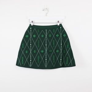 NWT Sandro Short Embroidered Knit Skirt Green 3/L